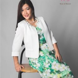 [Rose Of Sharon] Green garden floral dress teamed with white jacket.