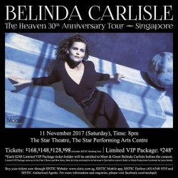 "[SISTIC Singapore] Get ready to relive your fondest memories as Belinda Carlisle's classic album ""Heaven on Earth"" turns 30 this year!"