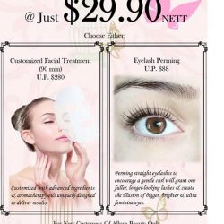 [Allure Beauty Saloon] Choose from Customized Facial or Eyelash Perming @ Just $29.