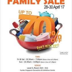 [Le Creuset] LE CREUSET FAMILY SALE (up to 70% off) 28 - 30 April'17 @ Suntec Convention Centre Room 310-311 .