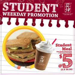 [Ya Kun Kaya Toast] Psst, here's something to cheer up your mid-week for all students out there - you can now enjoy any