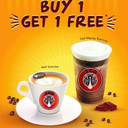 [J.Co Donuts & Coffee] Get ready for a special 1 for 1 treat next Monday and Tuesday, 10th and 11th April from 3pm to