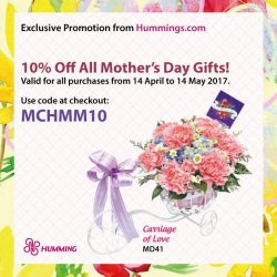 [MARY CHIA/URBAN HOMME] Enjoy an exclusive 10% off all Mother's Day gifts at Hummings.