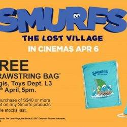 [BHG Singapore] Plus, receive a FREE Drawstring Bag with min $40* spend of Smurfs products.