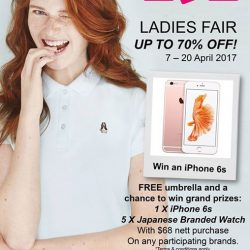 [BHG Singapore] Exclusively at BHG: Receive a FREE umbrella & stand to win an iPhone 6s with minimum $68* nett spend of Hush
