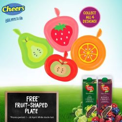 [Cheers] Receive a FREE fruit-shaped plate with purchase of any 2 X 1L Fruit Tree Fresh juice drinks, including the