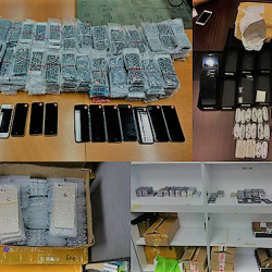 "[UBREAKIFIX.SG] Fake phones (also known as 山寨 ""shanzai) phones and accessories seized in Singapore."