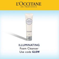[L'Occitane] The Illuminating Foaming Cleanser is formulated with the Reine Blanche Complex, made with natural botanical derivatives, to help lighten up