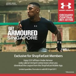 [Orchard Central] Enjoy $10 off from Under Armour Singapore when you download the coupon from the ShopFarEast Mobile App.