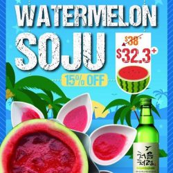 [CHICKEN UP] Now being served as well at Jurong East Branch: Watermelon Soju!