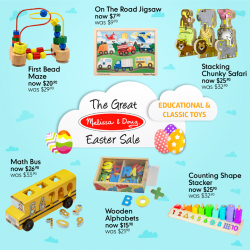 [Mothercare] Mothercare Online Exclusive: The Great Melissa & Doug Easter Sale is still on till 25 Apr!