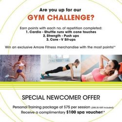 [Amore Fitness] Train during the weekend for our Hillion Mall Grand Opening gym challenge, and stand to win an exclusive Amore Fitness