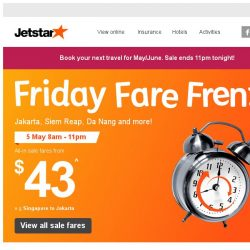 [Jetstar] All-in frenzy sale fares to Jakarta, Siem Reap, Da Nang and more from $43!