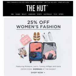[The Hut] 25% Off Women's Fashion   30% Off Jack Wolfskin   3 For 2 Le Creuset
