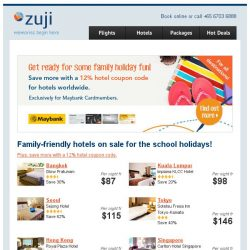 [Zuji] Family-friendly hotels on sale for the school holidays.