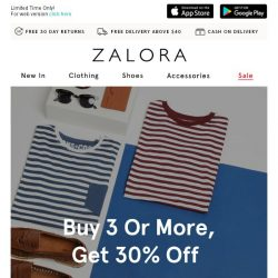 [Zalora] Get Lucky: Buy 3 get 30% off!