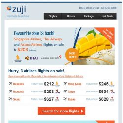 [Zuji] Singapore Airlines flights & more on sale fr $203!