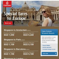 [Emirates] Save up to 32% on flights to any of our European destinations