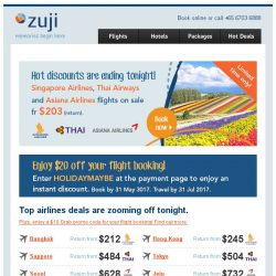 [Zuji] Last Day: Singapore Airlines sale & more fr $203 (return)!