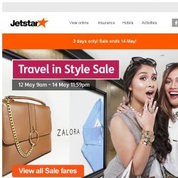 [Jetstar] Travel in style sale fares from $38 all-in. Plus, 18% off at Zalora. Hurry, book now!