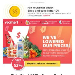 [Redmart] We've lowered our prices! Shop for the weekend.