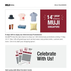[Muji] Last Chance to enjoy our 14th Anniversary Promotion!