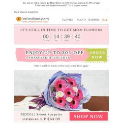 [FarEastFlora] Yet to get Mother's Day flowers for tomorrow? Order online now or visit us anytime before 11pm today!