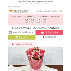 [FarEastFlora] Final Hours To Make Mom SMILE With Beautiful Flowers Up To 30% Off!