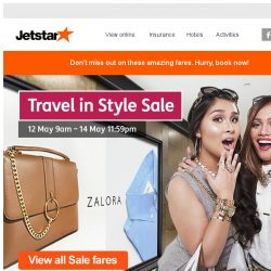 [Jetstar] Last day! Sale fares from $38 all-in. Plus, 18% off at Zalora. Don't miss out!