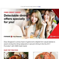 [CIMB] Enjoy up to 30% off and more at Singapore's favourite dining spots!