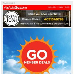 [AirAsiaGo] ✉ Member Deals | Awesome news, Get minimum 50% Off or more today! ✉