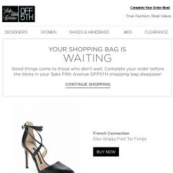 [Saks OFF 5th] Don't Forget! Your French Connection item is waiting at checkout!