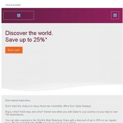 [Qatar] Only a few days left to book this spectacular offer - up to 25% off Business Class fares