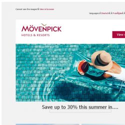 [Mövenpick Hotels & Resorts] ☀ It's your Summer - save up to 30%!