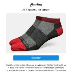 [Massdrop] Darn Tough No-Show Socks: A Lifetime Guaranteed Sock for Any Adventure for $33.99 (3-Pack)