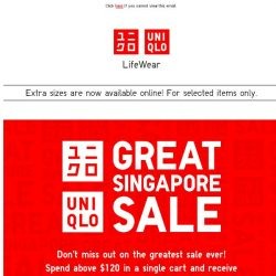 [UNIQLO Singapore] Great Singapore Sale is here!