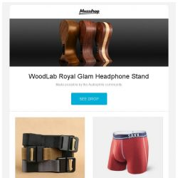 [Massdrop] WoodLab Royal Glam Headphone Stand, Carbon Tactics Quicky Magnetic Tactical Belt, SAXX 3Six Five Boxer (2-pack) and more...