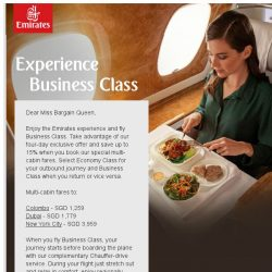 [Emirates] Fly Business Class - hurry to book our exclusive four-day offer