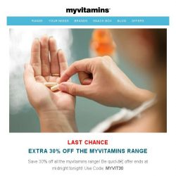 [MyVitamins] Last Chance | Extra 30% off the ENTIRE myvitamins range! [Ends Midnight]