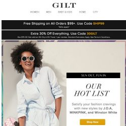 [Gilt] Extra 30% Off Starts Now | Our Hot List: Make Your Summer Style Resolutions
