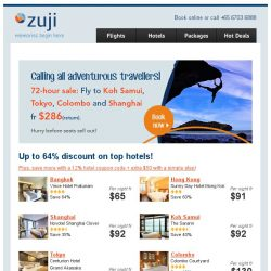 [Zuji] Flash sale to 4 cities + top Koh Samui, Tokyo hotels fr $65