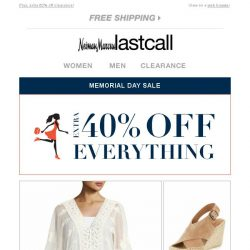 [Last Call] Extra 40% off apparel, shoes, bags, & more >> Memorial Day Sale going on now