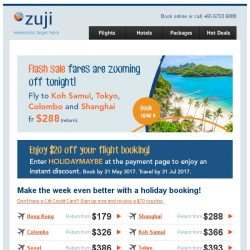 [Zuji] Hurry! Fly to Koh Samui, Tokyo & more fr $288 only.