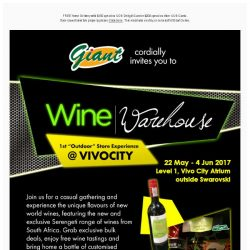 [Giant] You'd love to hear this! Exclusive Promo at Giant Wine Warehouse Vivocity!