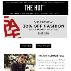 [The Hut] 30% off Summer Tees, Footwear, Bags and more!