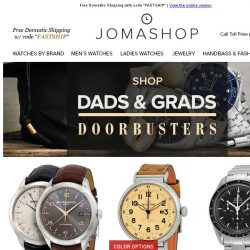 [Jomashop] GRADS & DADS: 18+ New Blowout Deals on Top Brands - Limited Time Only!
