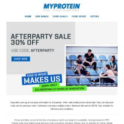 [MyProtein] Birthday's over... But here's the Afterparty!