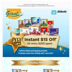 [Giant] 📢 Attention! 💰$15 OFF on 🍼 Abbott Products for 📆 5 days only!