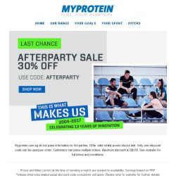 [MyProtein] Afterparty ends midnight...