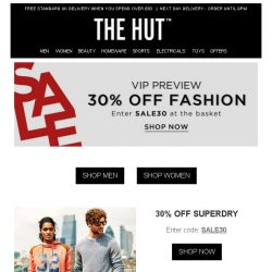 [The Hut] 30% off Superdry, Lacoste, MINKPINK and more!